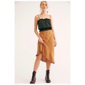 Free People Intimately No Secrets Slip Skirt Brown